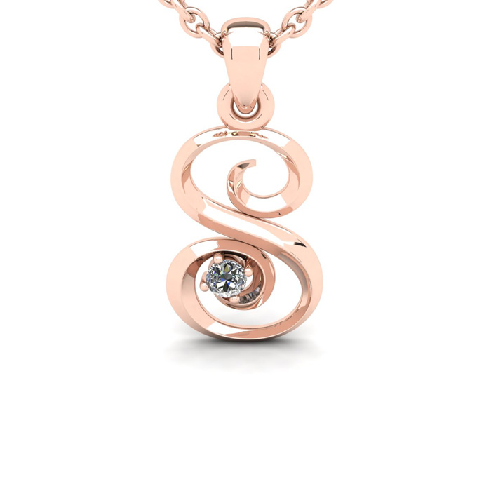 Diamond Accent S Swirly Initial Necklace in 14K Rose Gold (2 g) w