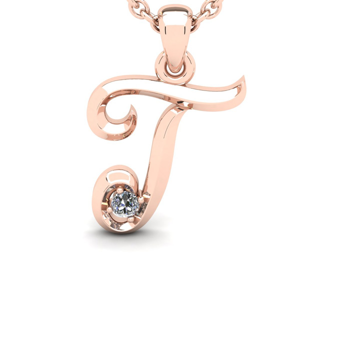 Diamond Accent T Swirly Initial Necklace in 14K Rose Gold (2 g) w