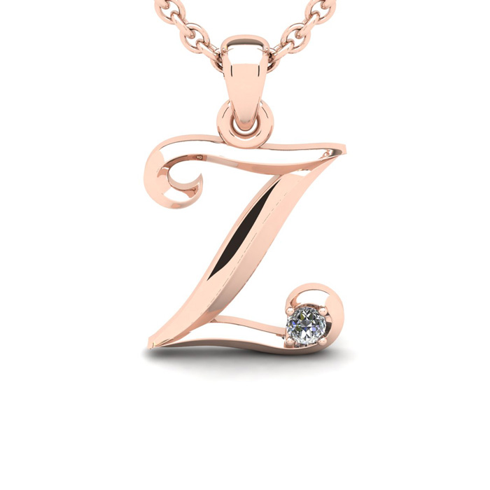 Diamond Accent Z Swirly Initial Necklace in 14K Rose Gold (2 g) w