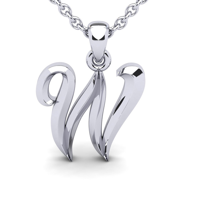 W Swirly Initial Necklace in Heavy White Gold (2.1 g) w/ Free 18