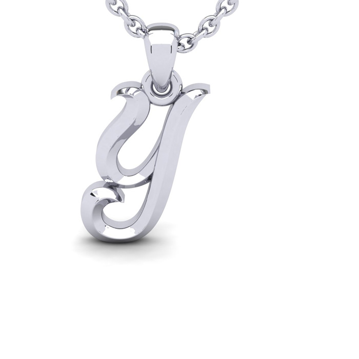 Y Swirly Initial Necklace in Heavy White Gold (2.1 g) w/ Free 18