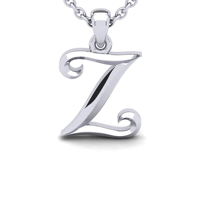 Z Swirly Initial Necklace in Heavy White Gold (2.1 g) w/ Free 18