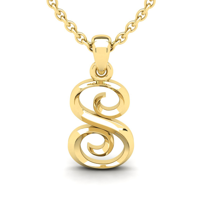 S Swirly Initial Necklace in Heavy Yellow Gold (2.1 g) w/ Free 18