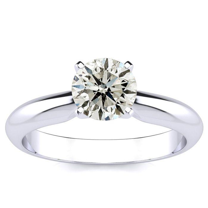 1ct Round Diamond Solitaire Ring in 14k White Gold, I/J, I1
