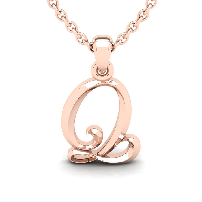 Q Swirly Initial Necklace in Heavy Rose Gold (2.1 g) w/ Free 18 I