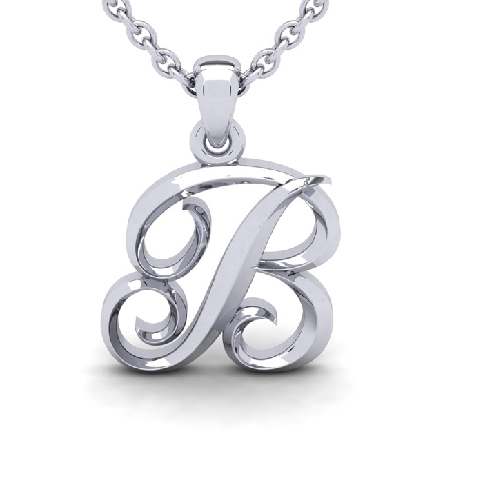 B Swirly Initial Necklace in Heavy 14K White Gold (2.4 g) w/ Free