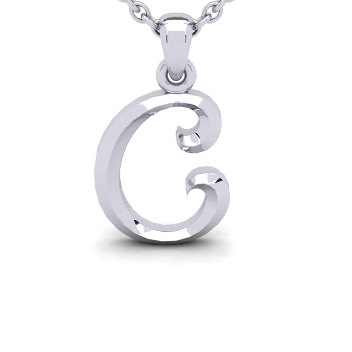 C Swirly Initial Necklace in Heavy 14K White Gold (2.4 g) w/ Free