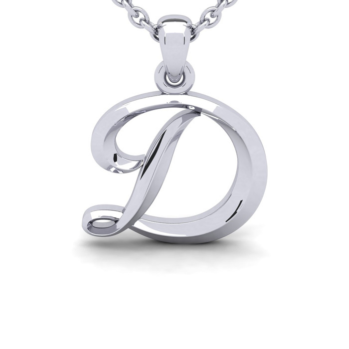 D Swirly Initial Necklace in Heavy 14K White Gold (2.4 g) w/ Free 18 Inch Cable Chain by SuperJeweler