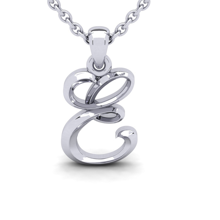 E Swirly Initial Necklace in Heavy 14K White Gold (2.4 g) w/ Free 18 Inch Cable Chain by SuperJeweler