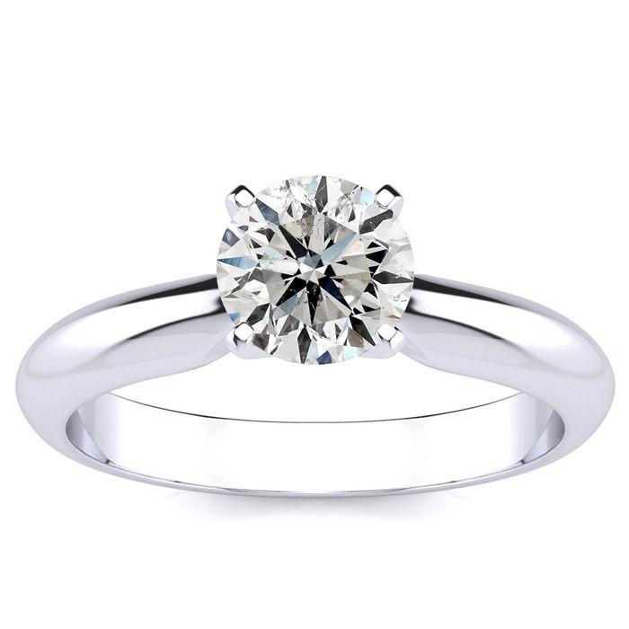 1 Carat Round Diamond Solitaire Ring in 14k White Gold (H-I, I1-I