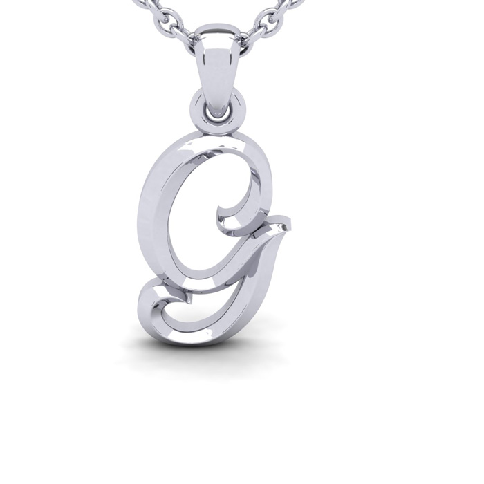 G Swirly Initial Necklace in Heavy 14K White Gold (2.4 g) w/ Free