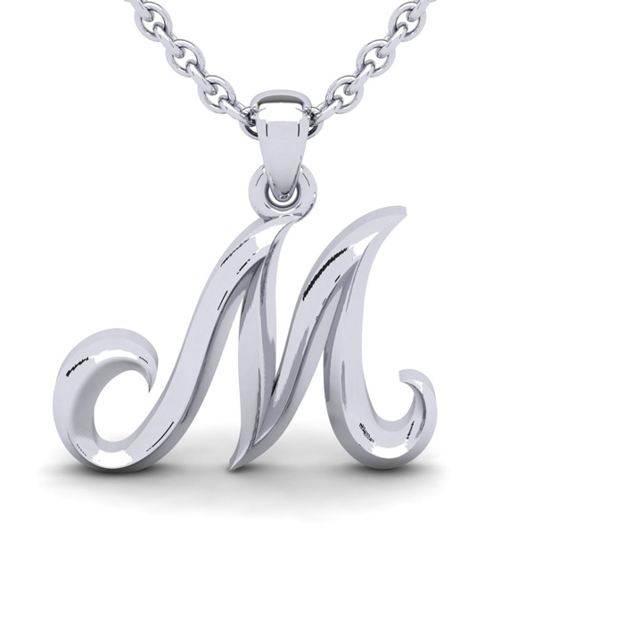 M Swirly Initial Necklace in Heavy 14K White Gold (2.4 g) w/ Free 18 Inch Cable Chain by SuperJeweler