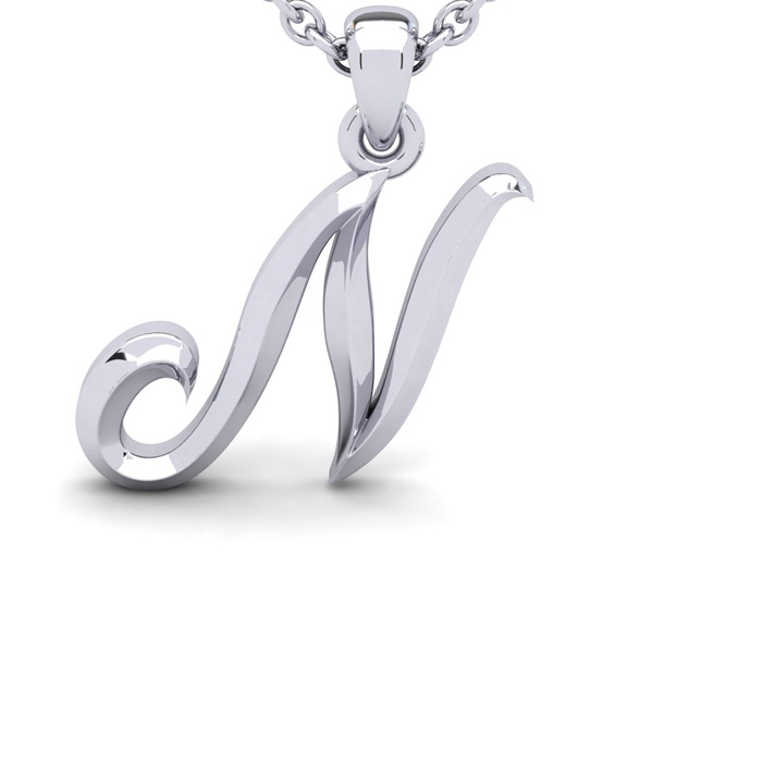 N Swirly Initial Necklace in Heavy 14K White Gold (2.4 g) w/ Free 18 Inch Cable Chain by SuperJeweler