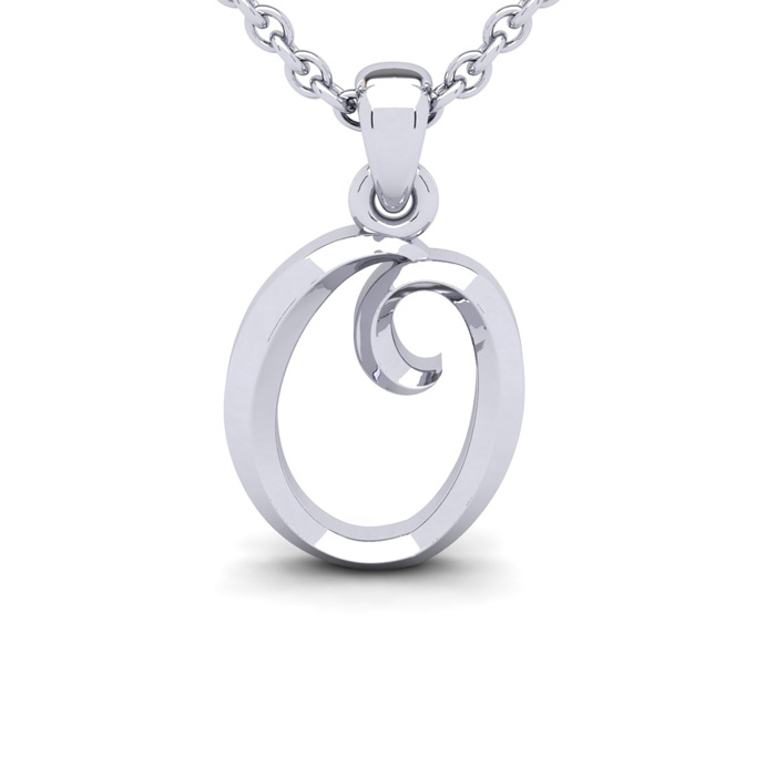 O Swirly Initial Necklace in Heavy 14K White Gold (2.4 g) w/ Free