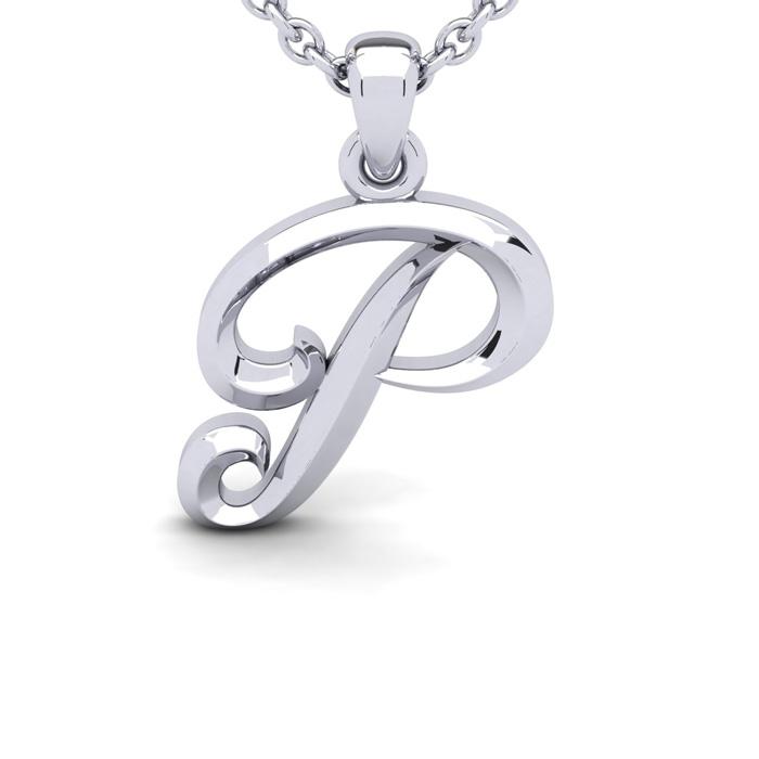 P Swirly Initial Necklace in Heavy 14K White Gold (2.4 g) w/ Free