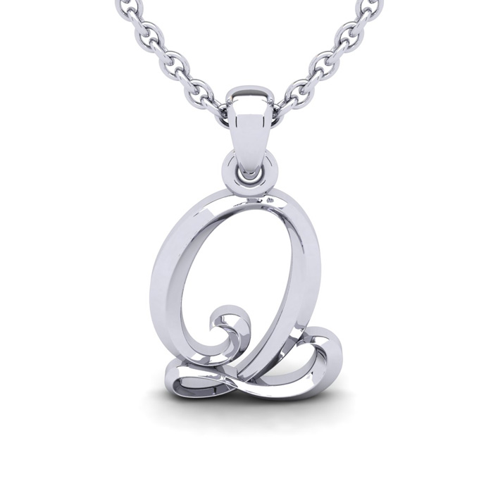 Q Swirly Initial Necklace in Heavy 14K White Gold (2.4 g) w/ Free