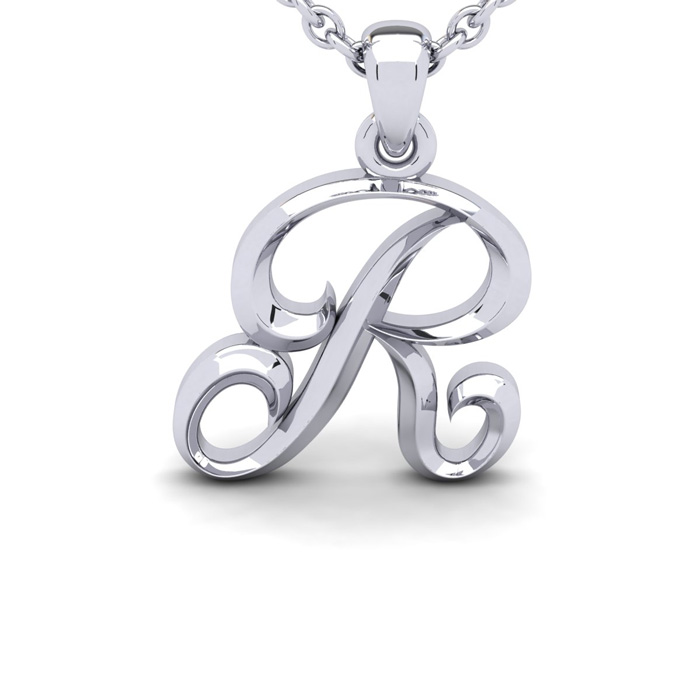 R Swirly Initial Necklace in Heavy 14K White Gold (2.4 g) w/ Free 18 Inch Cable Chain by SuperJeweler