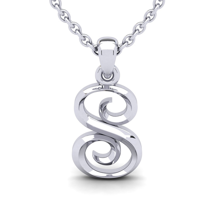 S Swirly Initial Necklace in Heavy 14K White Gold (2.4 g) w/ Free