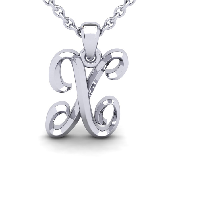 X Swirly Initial Necklace in Heavy 14K White Gold (2.4 g) w/ Free 18 Inch Cable Chain by SuperJeweler