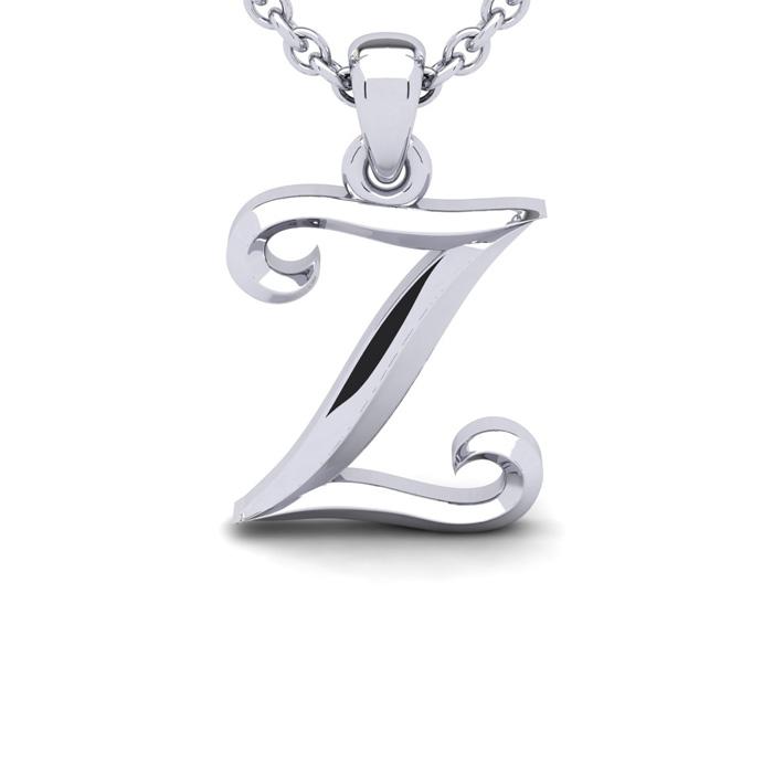 Z Swirly Initial Necklace in Heavy 14K White Gold (2.4 g) w/ Free