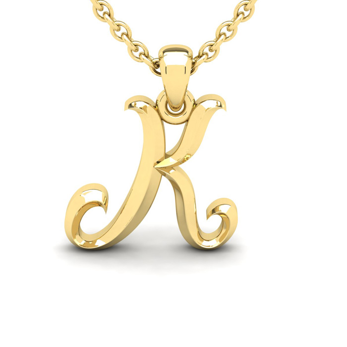 K Swirly Initial Necklace in Heavy 14K Yellow Gold (2.4 g) w/ Fre