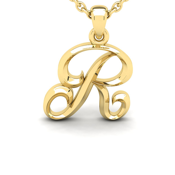 R Swirly Initial Necklace in Heavy 14K Yellow Gold (2.4 g) w/ Fre