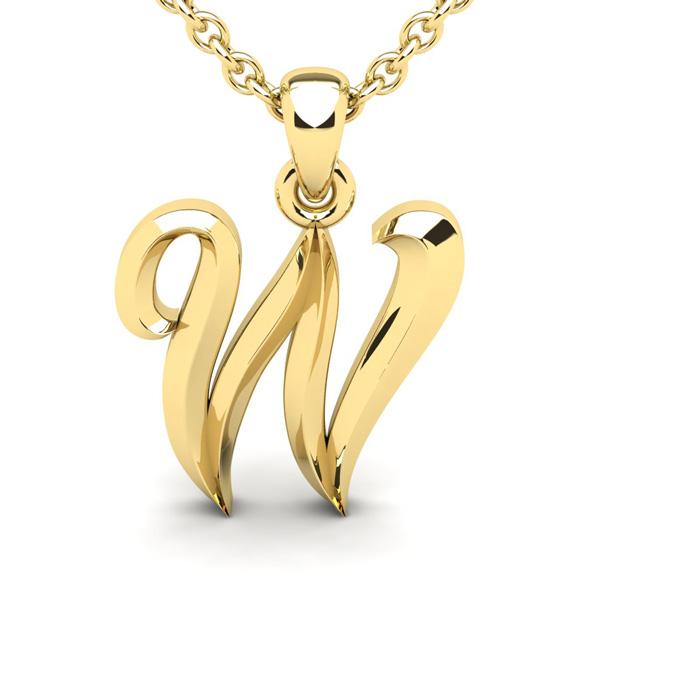 W Swirly Initial Necklace in Heavy 14K Yellow Gold (2.4 g) w/ Fre