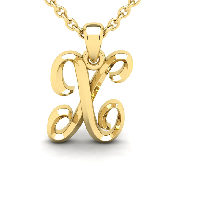 X Swirly Initial Necklace in Heavy 14K Yellow Gold (2.4 g) w/ Fre