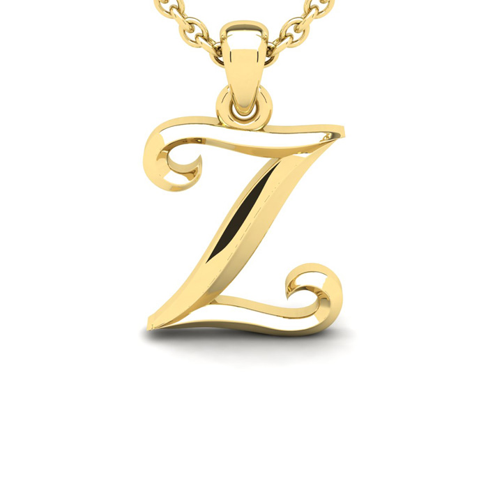 Z Swirly Initial Necklace in Heavy 14K Yellow Gold (2.4 g) w/ Fre