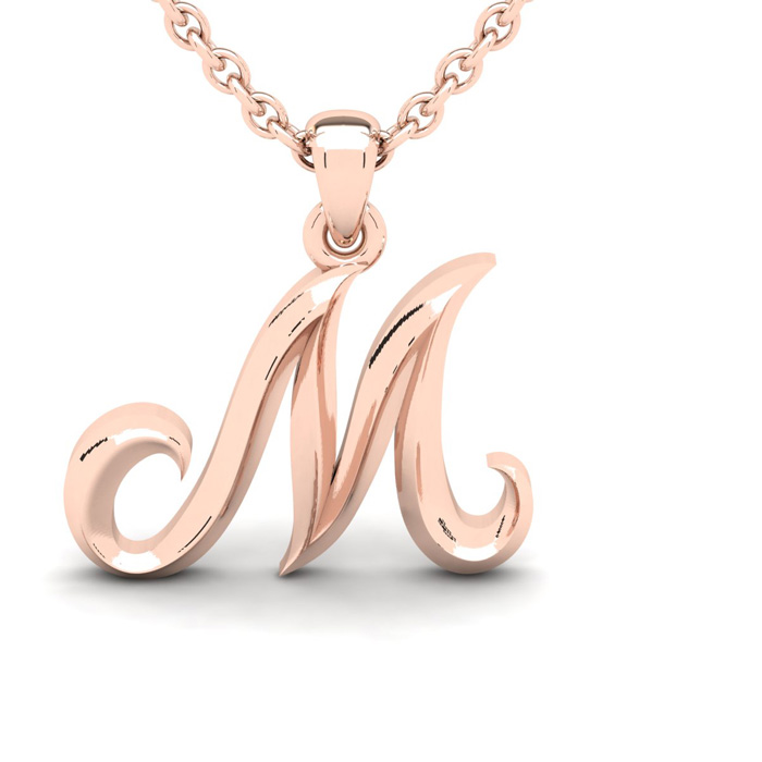 M Swirly Initial Necklace in Heavy 14K Rose Gold (2.4 g) w/ Free