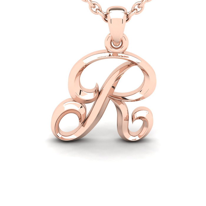 R Swirly Initial Necklace in Heavy 14K Rose Gold (2.4 g) w/ Free