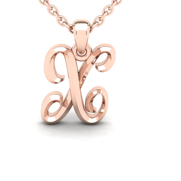 X Swirly Initial Necklace in Heavy 14K Rose Gold (2.4 g) w/ Free