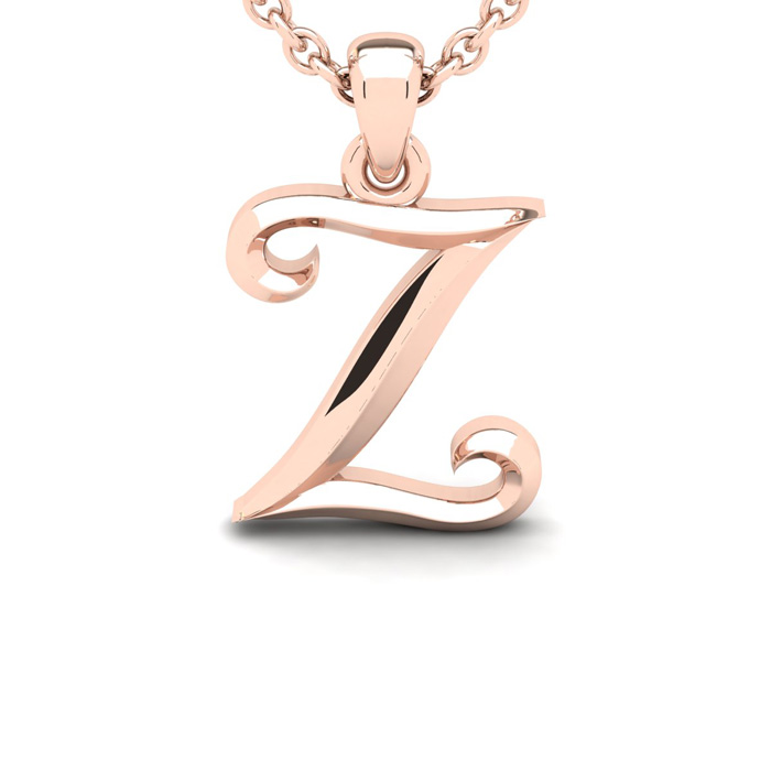 Z Swirly Initial Necklace in Heavy 14K Rose Gold (2.4 g) w/ Free