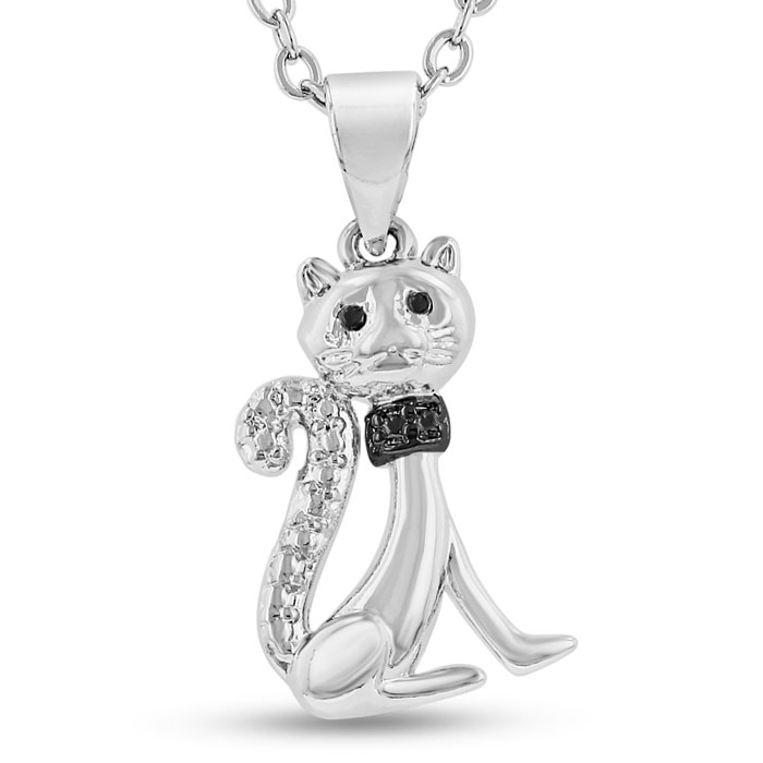 Purr-dy Black Diamond Cat Necklace, 18 Inch Chain by SuperJeweler