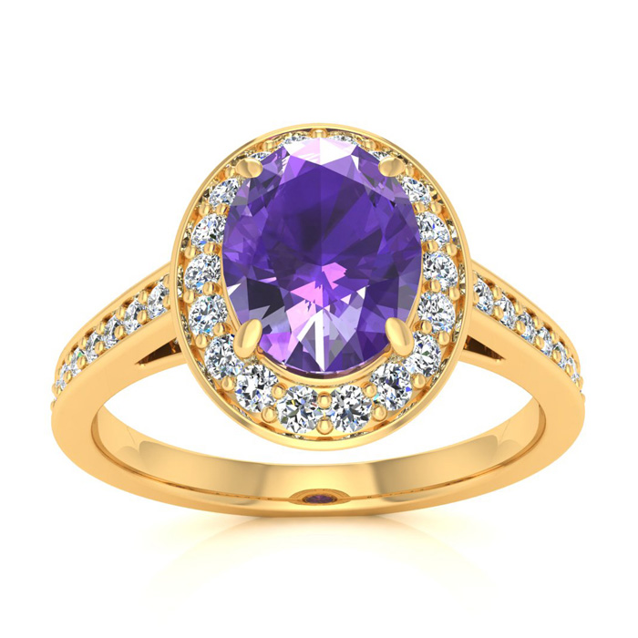 1 1/3 Carat Oval Shape Amethyst & Halo Diamond Ring in 14K Yellow Gold (4.7 g), I/J by SuperJeweler