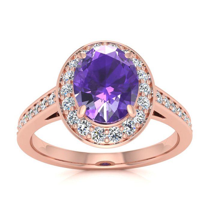 1 1/3 Carat Oval Shape Amethyst & Halo Diamond Ring in 14K Rose G