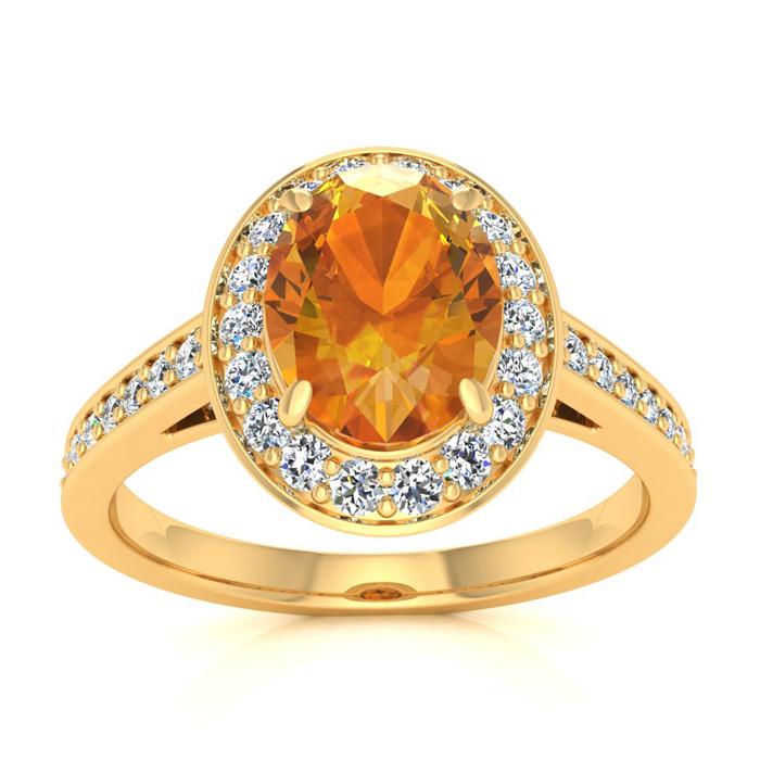 1 1/3 Carat Oval Shape Citrine & Halo Diamond Ring in 14K Yellow