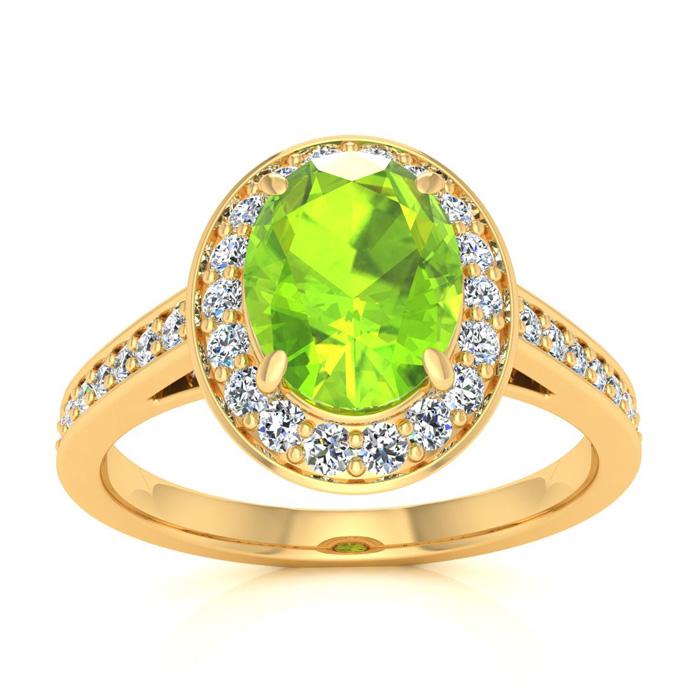 1.5 Carat Oval Shape Peridot & Halo Diamond Ring in 14K Yellow Go