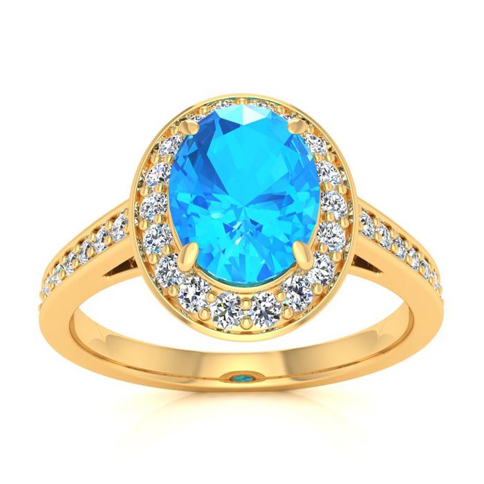 1 3/4 Carat Oval Shape Blue Topaz & Halo Diamond Ring in 14K Yell