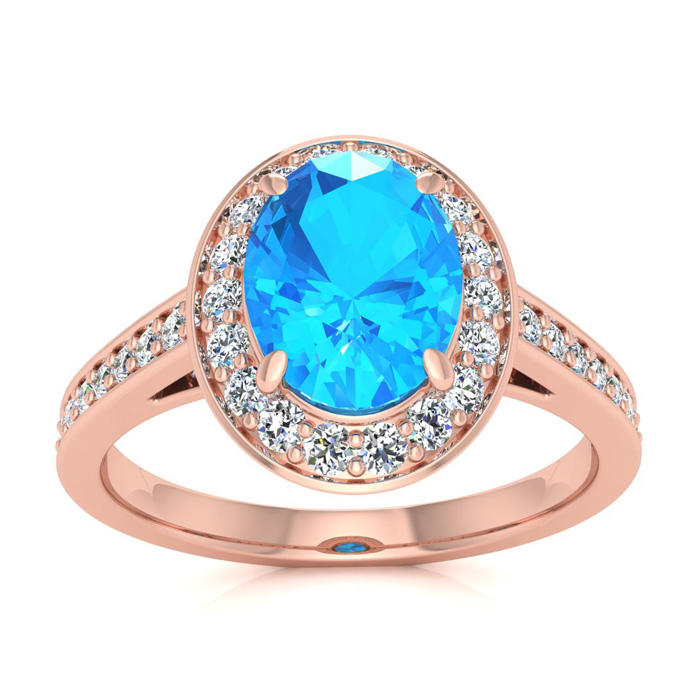 1 3/4 Carat Oval Shape Blue Topaz & Halo Diamond Ring in 14K Rose