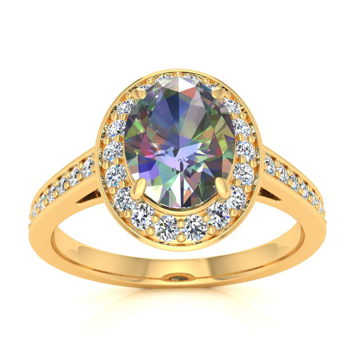 1 3/4 Carat Oval Shape Mystic Topaz & Halo Diamond Ring in 14K Ye