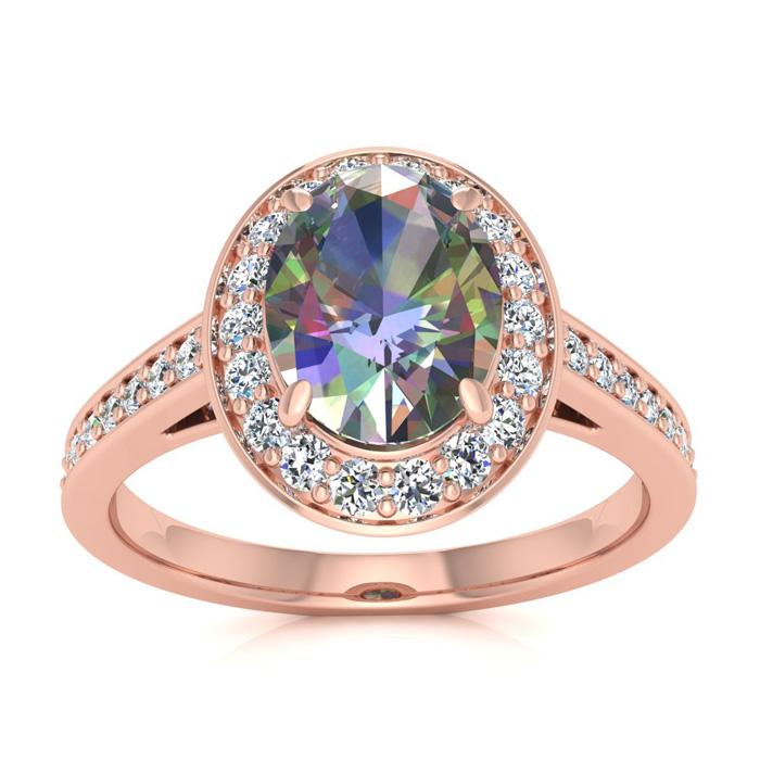1 3/4 Carat Oval Shape Mystic Topaz & Halo Diamond Ring in 14K Ro