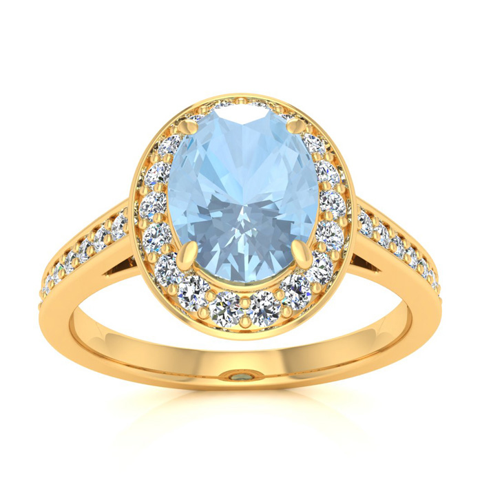 1.5 Carat Oval Shape Aquamarine & Halo Diamond Ring in 14K Yellow Gold (4.7 g), I/J by SuperJeweler