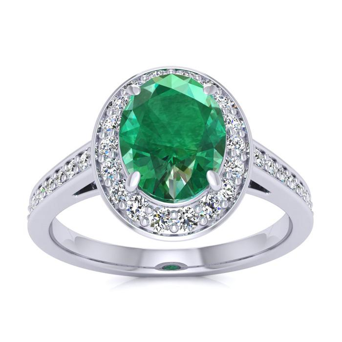 1.5 Carat Oval Shape Emerald Cut & Halo Diamond Ring in 14K White Gold (4.7 g), I/J by SuperJeweler