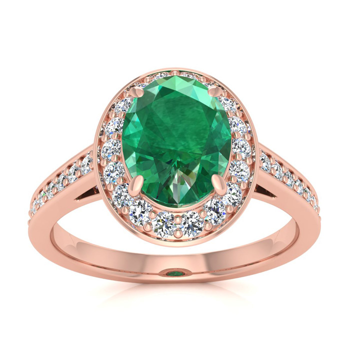 1.5 Carat Oval Shape Emerald Cut & Halo Diamond Ring in 14K Rose Gold (4.7 g), I/J by SuperJeweler