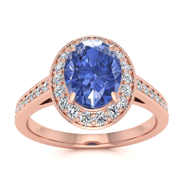 1.5 Carat Oval Shape Tanzanite & Halo Diamond Ring in 14K Rose Go