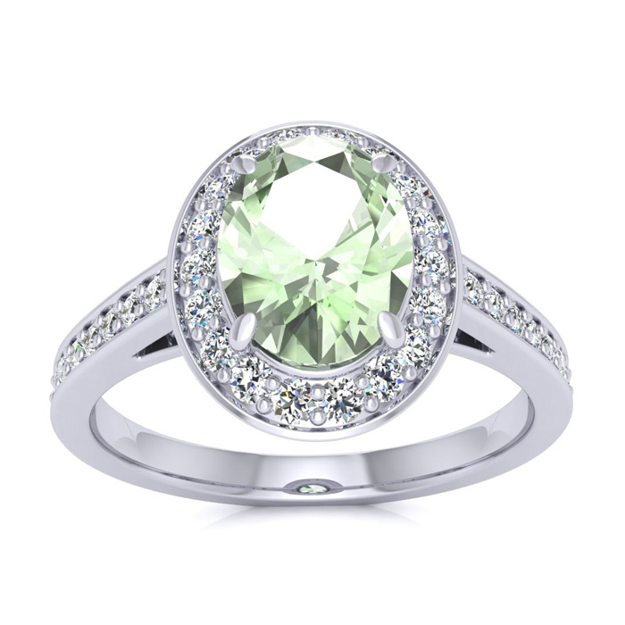 1 1/3 Carat Oval Shape Green Amethyst & Halo Diamond Ring in 14K