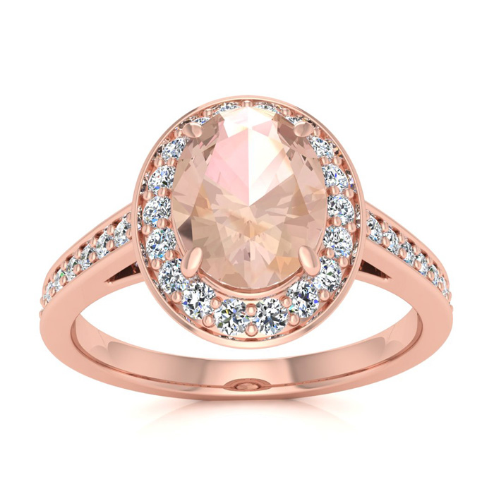 1.5 Carat Oval Shape Morganite & Halo Diamond Ring in 14K Rose Gold (4.7 g), I/J by SuperJeweler