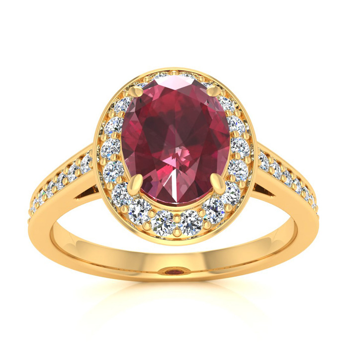 1 3/4 Carat Oval Shape Ruby & Halo Diamond Ring in 14K Yellow Gol