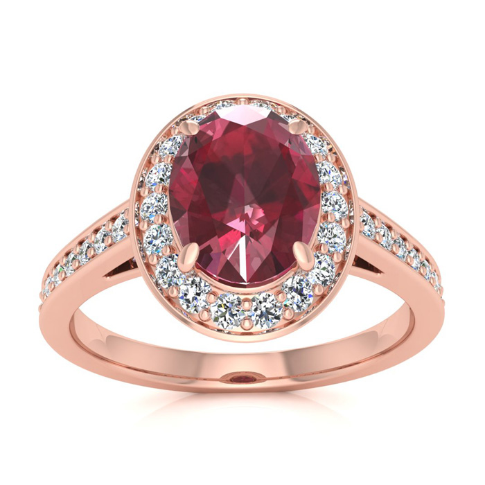 1 3/4 Carat Oval Shape Ruby & Halo Diamond Ring in 14K Rose Gold (4.7 g), I/J by SuperJeweler